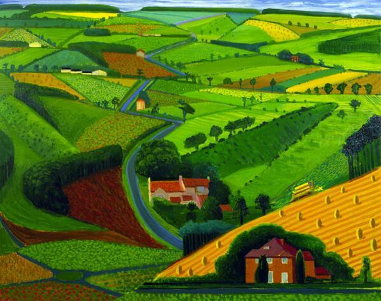 "RT @panoround01: DAVID #HOCKNEY ""The Road Across the Wolds"" (1997)  #art #green #nature #iloveart #painting  #spring #colores #colors http://t.co/y7FDKjLpYp"
