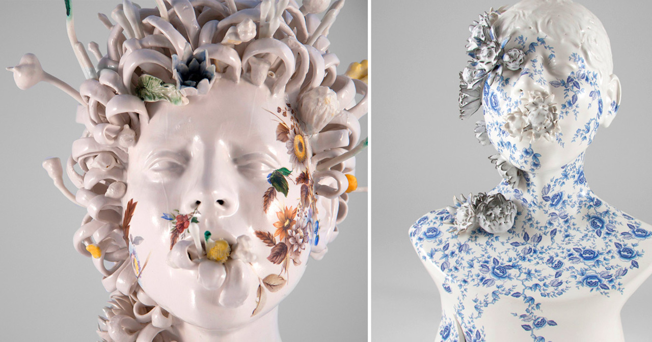 New Ceramic Busts Overgrown With Twisted Vines and Colorful Flowers by Jess Riva Cooper