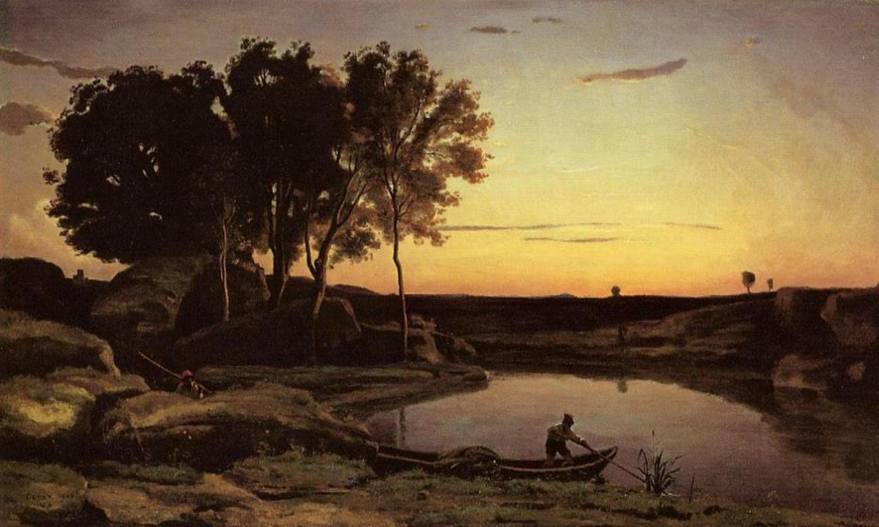 'Evening Landscape (The Ferryman, Evening)' Camille Corot, 1839 #art http://t.co/IAuZzzAQxP